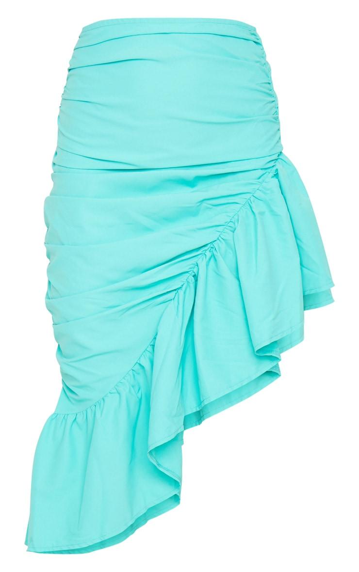 Aqua Ruched Frill Hem Midi Skirt 5