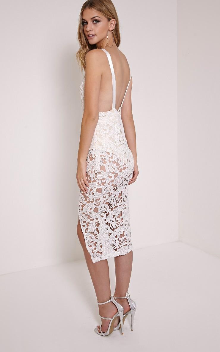 Luinna Cream Crochet Lace Plunge Midi Dress 4
