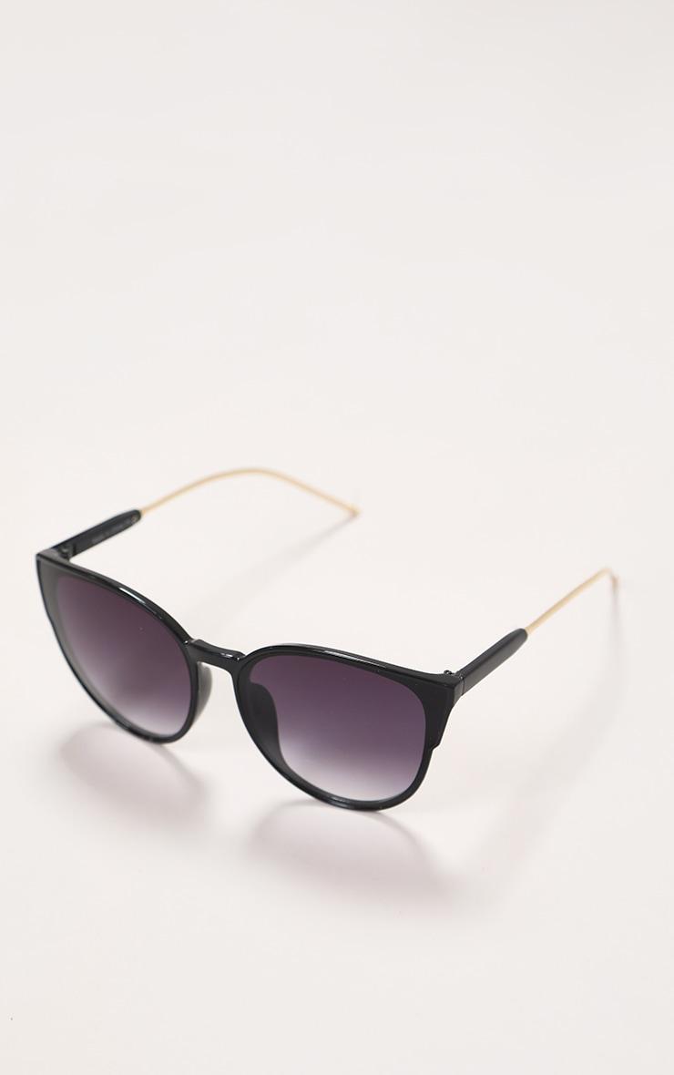 Black Sleek Oversized Cat Eye Sunglasses 1