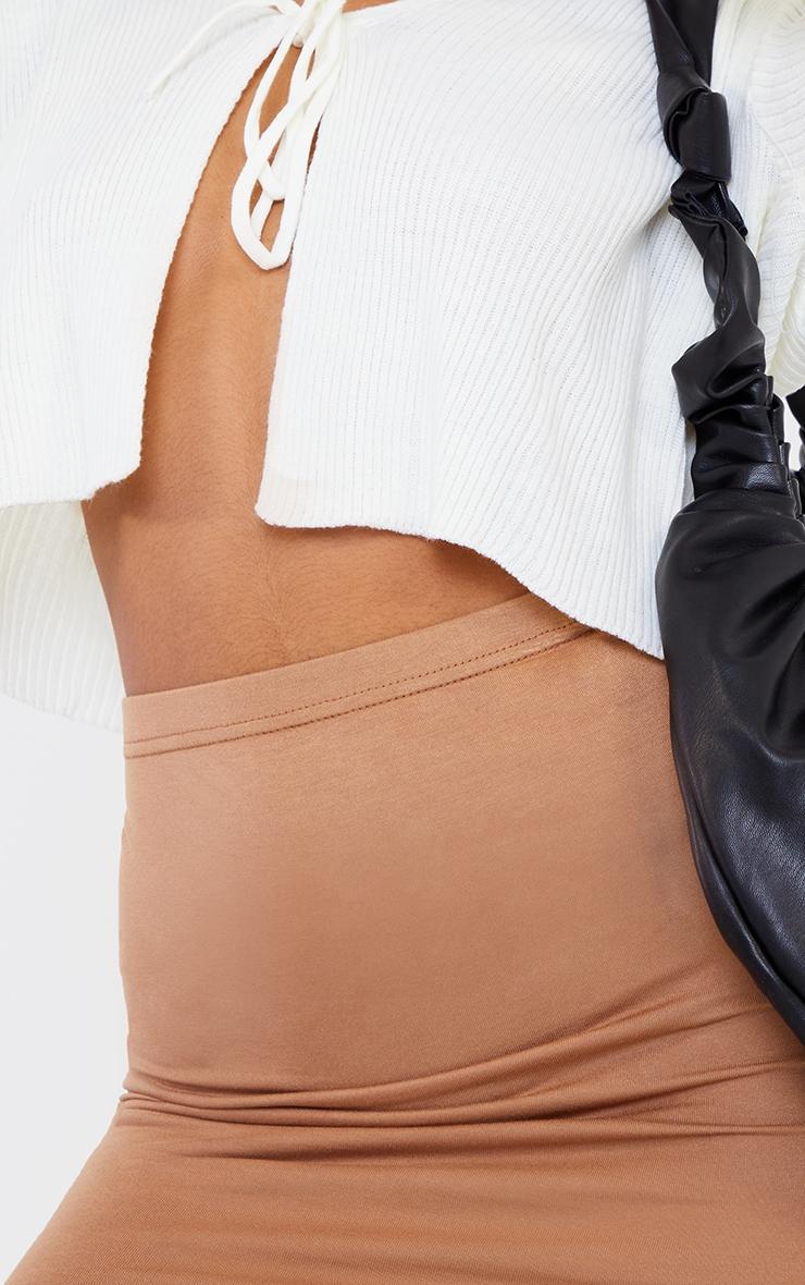 Mini-jupe camel basique en jersey 5