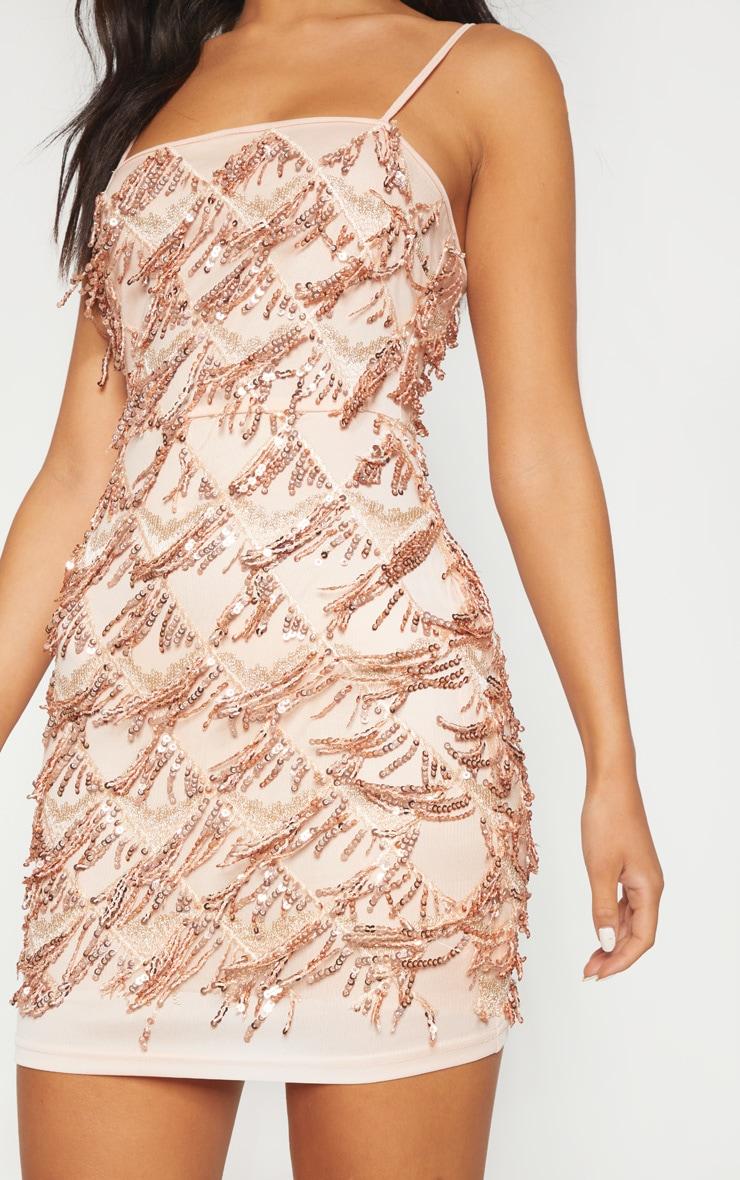 Nude Sequin Strappy Square Neck Bodycon Dress 5