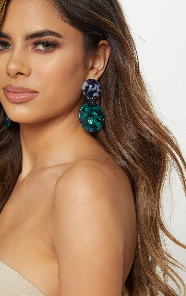 Blue And Green Resin Double Disc Drop Earrings