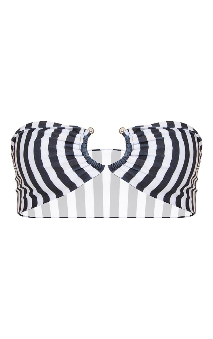 Petite - Haut de maillot de bain bandeau noir à rayures verticales et détail anneau  3