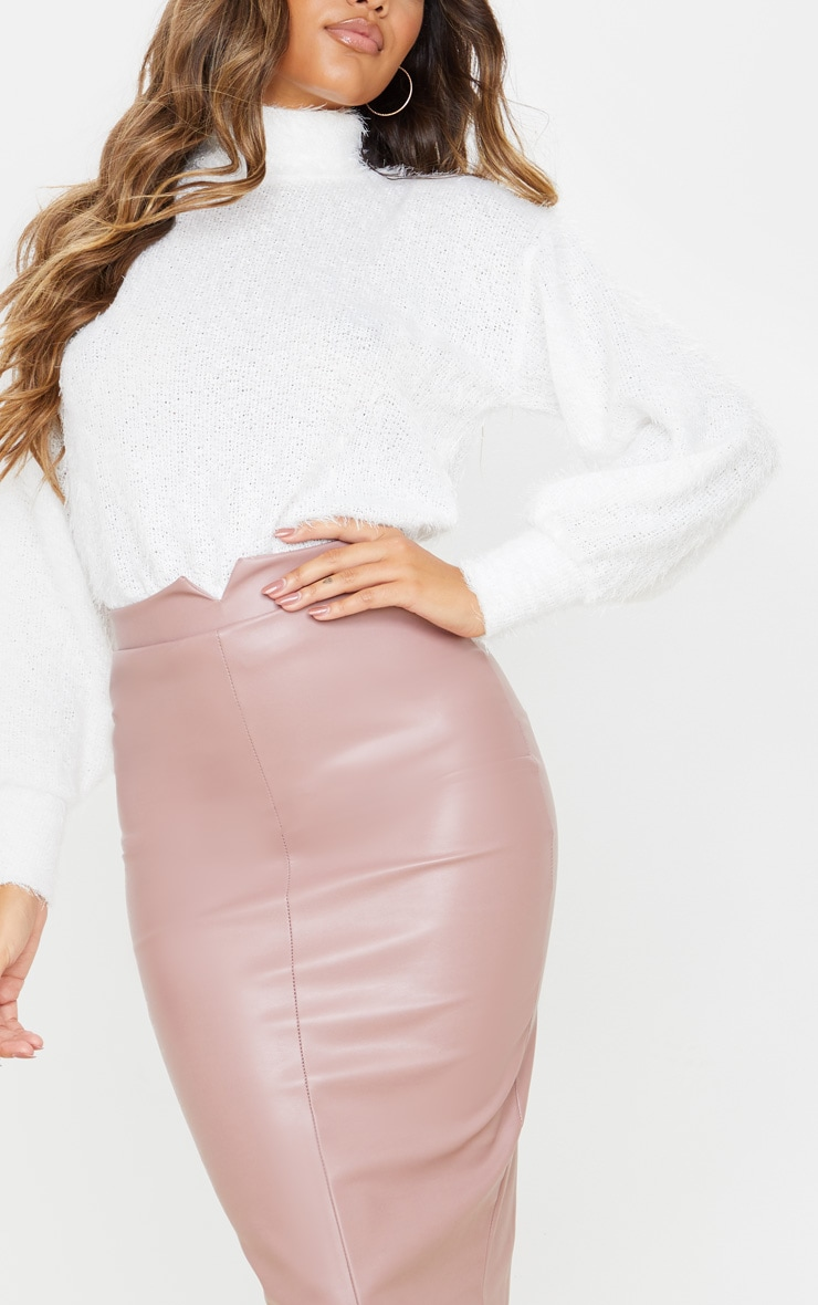 Eva Rose Faux Leather Panel Midi Skirt 5