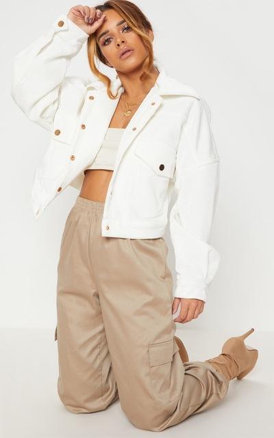 Petite White Cropped Cord Oversized Trucker Jacket