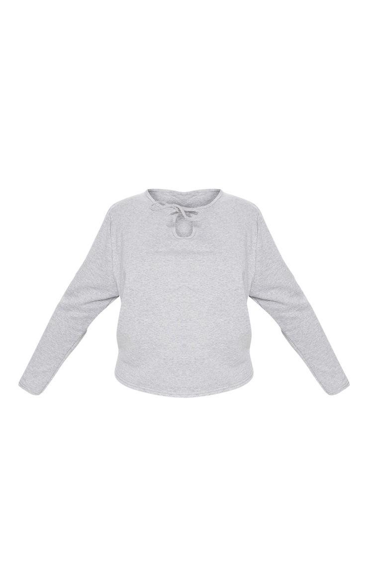 Plus Grey Marl Tie Detail Sweater 3