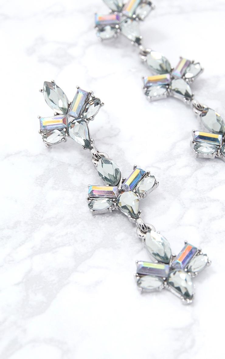 Iridescent Silver Diamante Drop Earrings 5