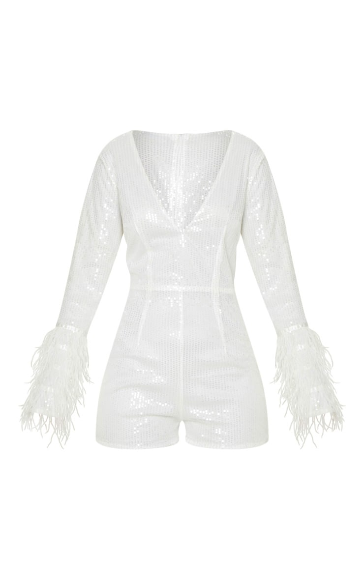 White Sequin Feather Detail Long Sleeve Playsuit 3