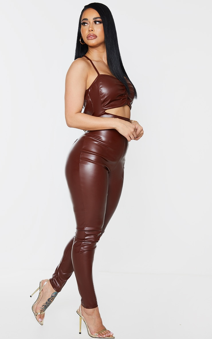 Shape Chocolate Brown PU Ruched Cut Out Jumpsuit 3