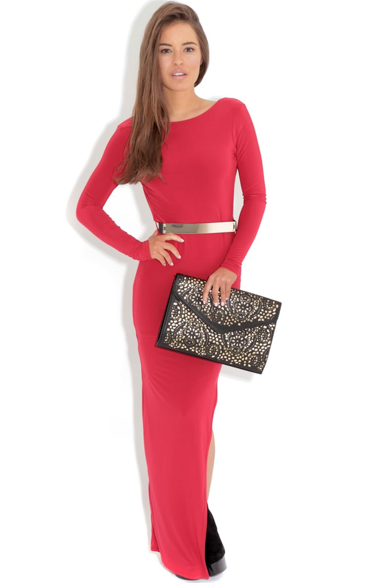 Alysa Red Maxi Dress With Gold Tone Belt 2