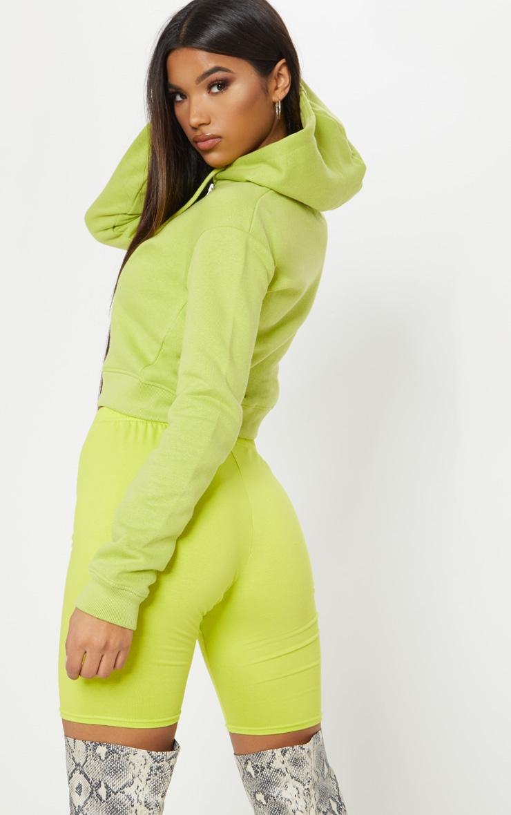 Neon Lime Crop Zip Hoodie 2