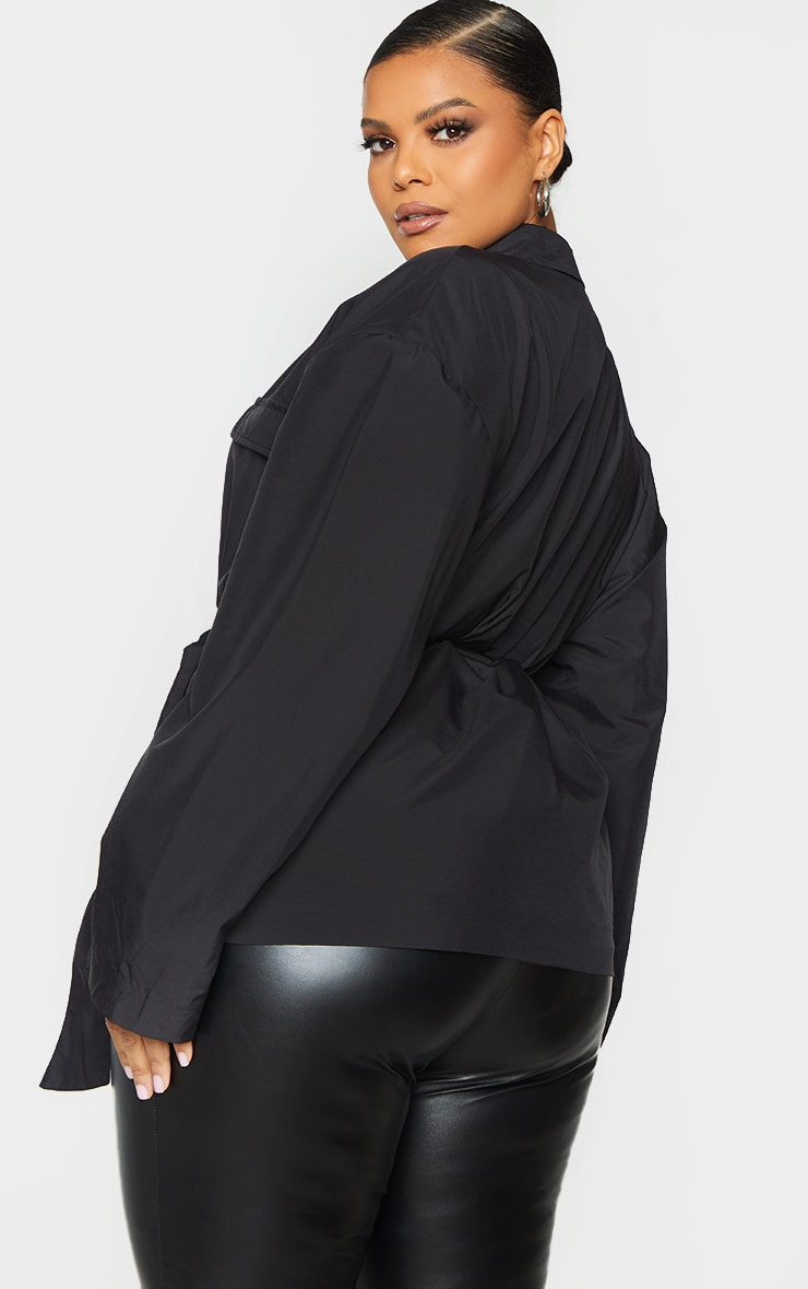 Plus Black Shell Tie Front Cropped Jacket 2