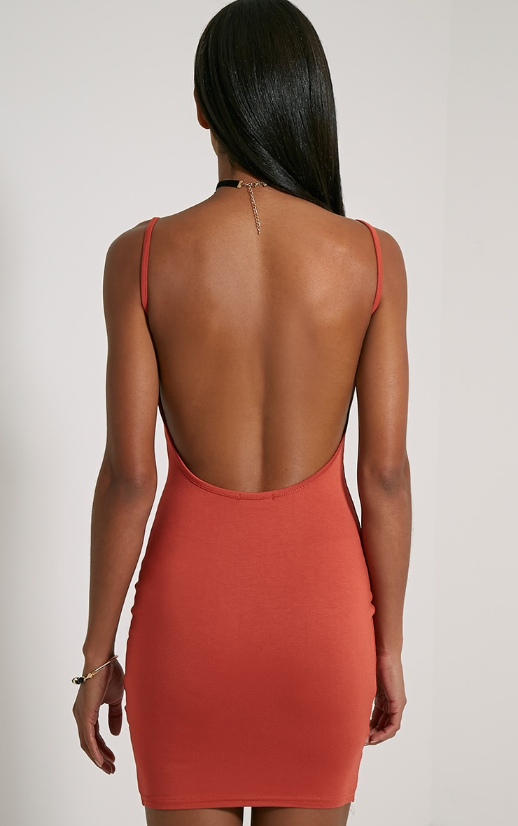 Natallia Rust Scoop Back Dress 2