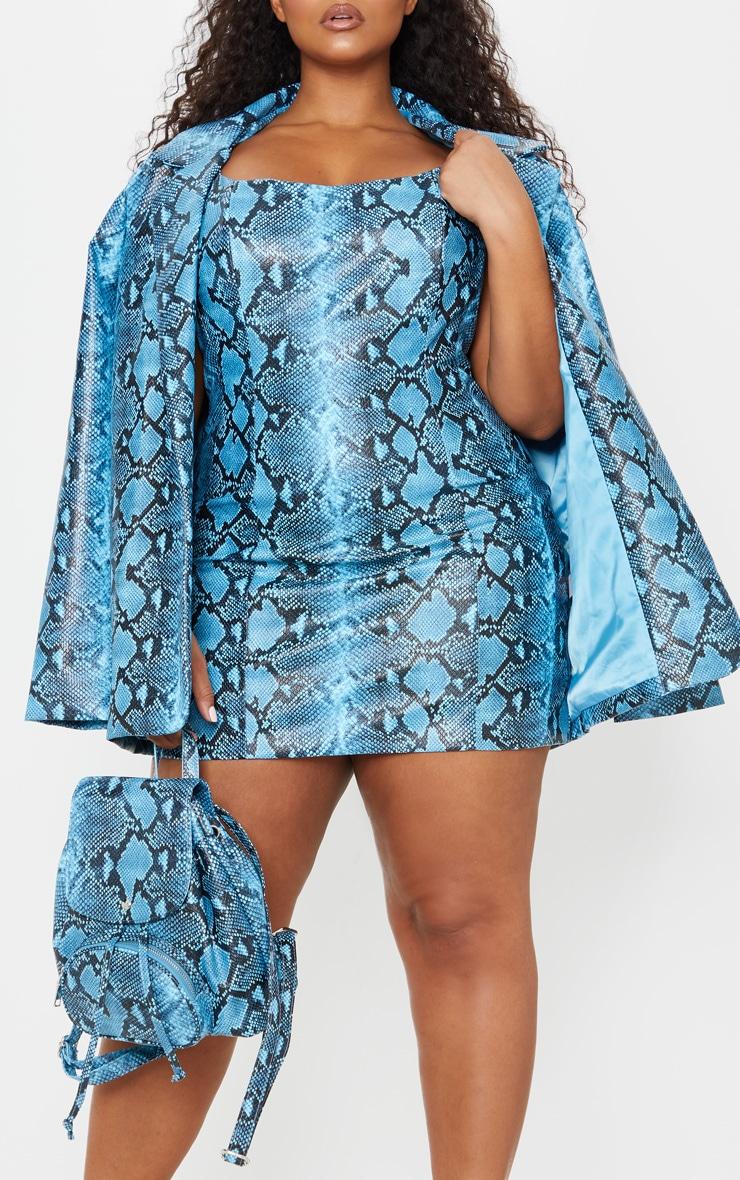 Plus Blue PU Snake Strappy Bodycon Dress 5