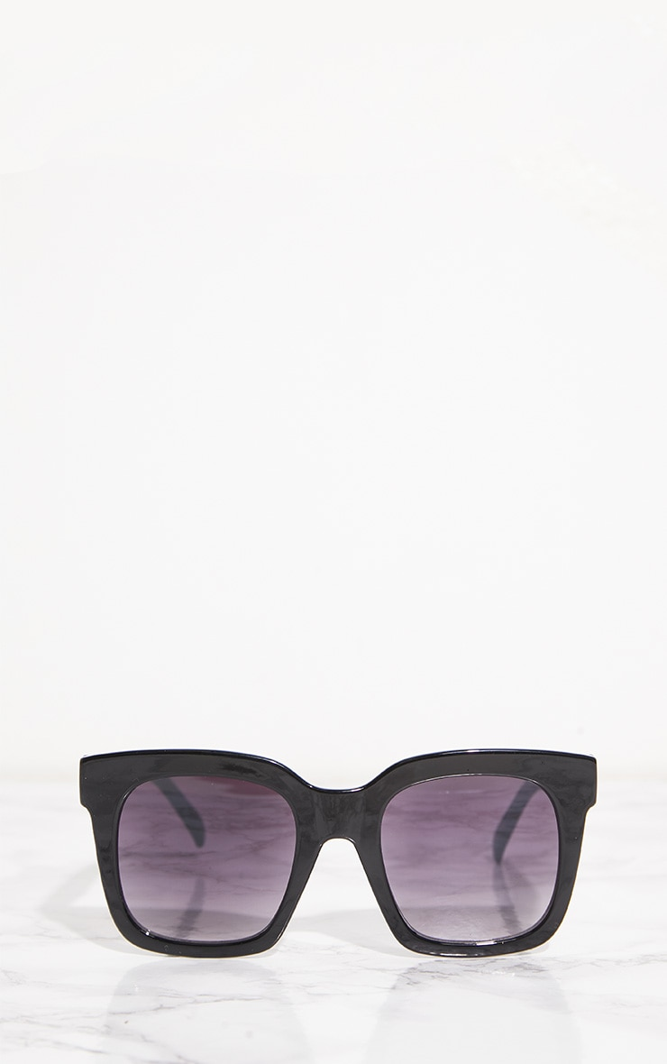 Black Shiny Oversized Square Sunglasses 2