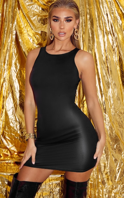Black Wet Look Racer Neck Bodycon Dress