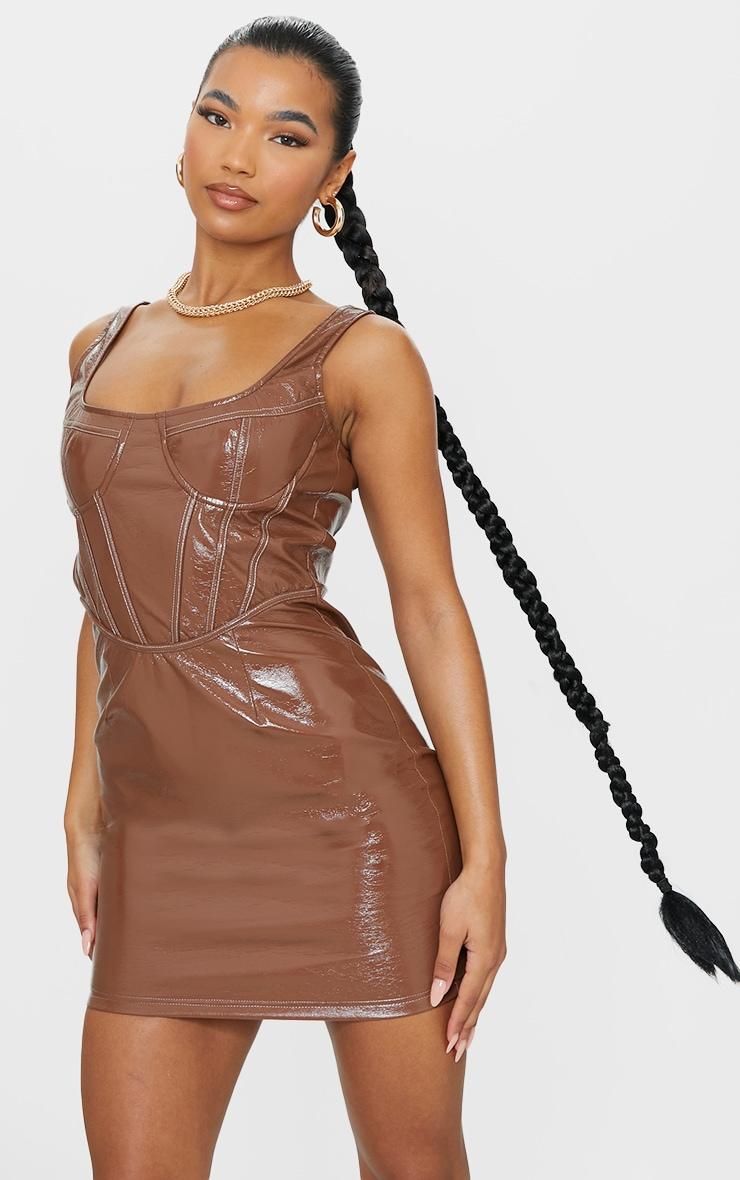 Chocolate PU Sleeveless Corset Stitched Detail Bodycon Dress 1