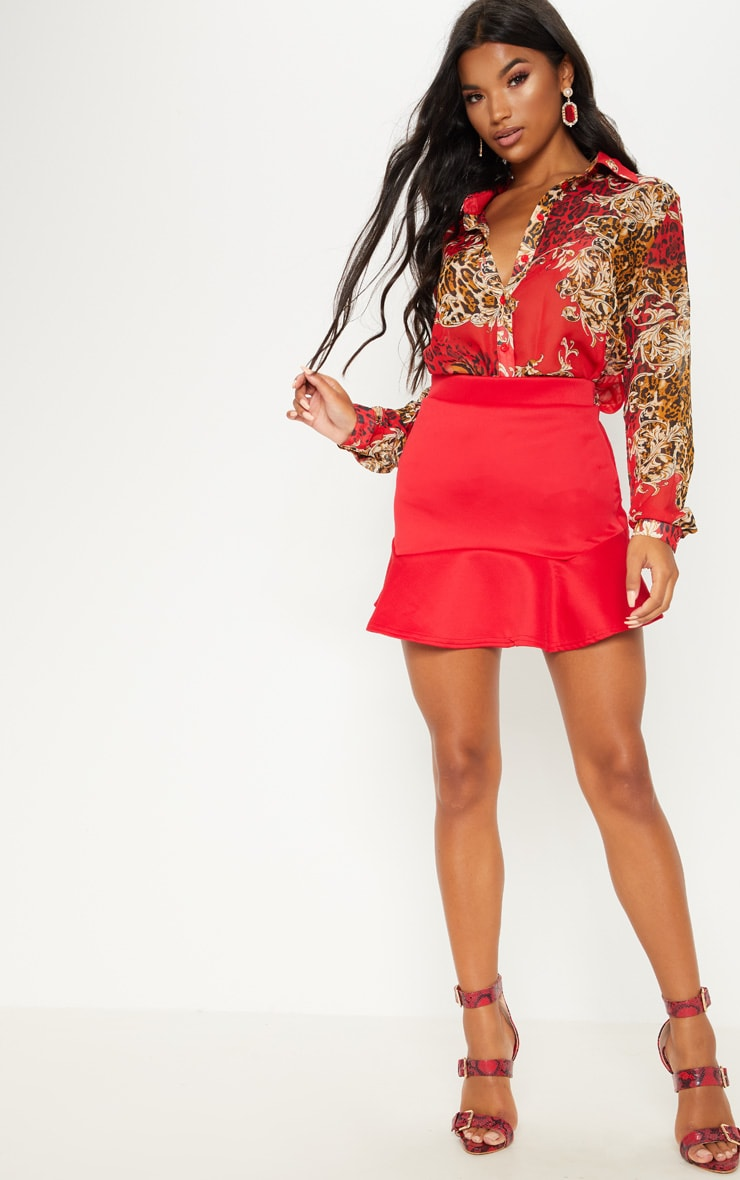 Verity Red Flippy Hem Mini Skirt 1