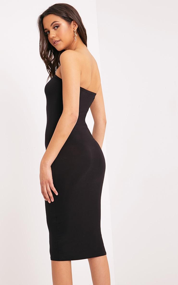 Basic robe midi bandeau noire en jersey 2