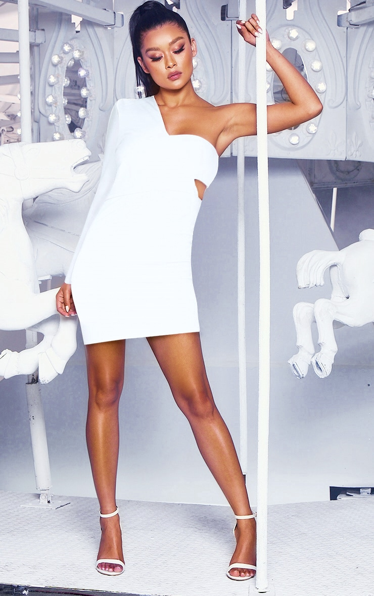 White One Shoulder Bodycon Dress 3