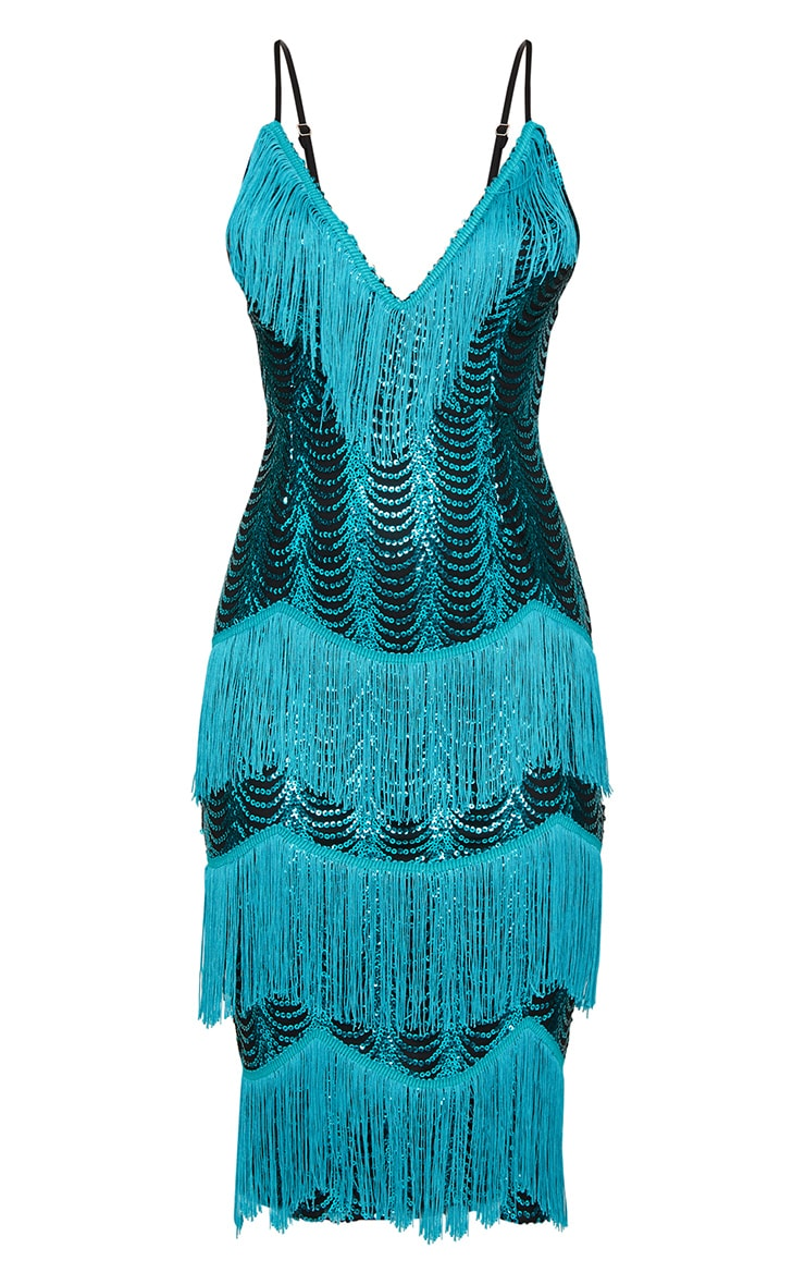Teal Sequin Tassel Detail Strappy Midi Dress  4