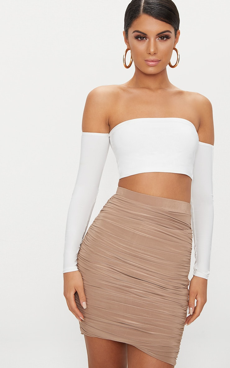 White Slinky Bardot Long Sleeve Crop Top 1