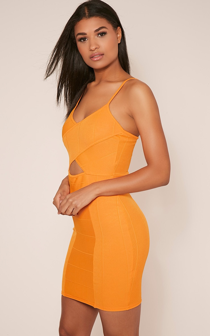 Sasia Bright Orange Cross Front Bandage Mini Dress 4