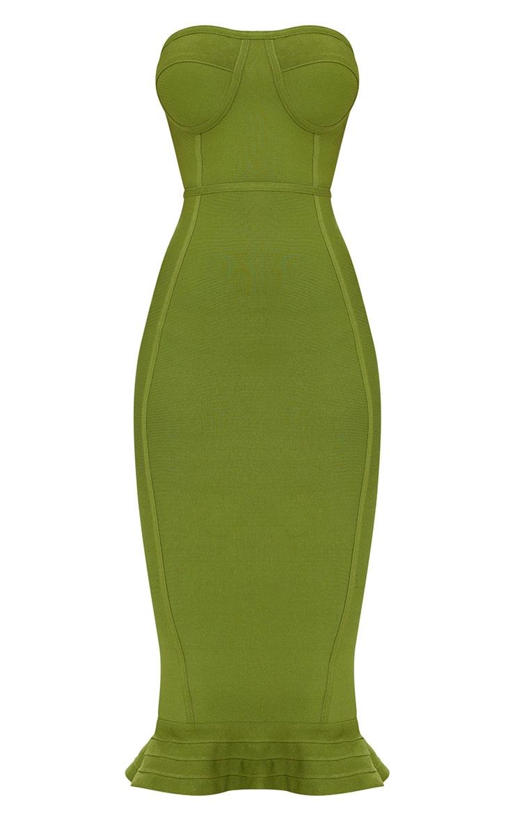 Olive Bandage Frill Hem Midi Dress 3