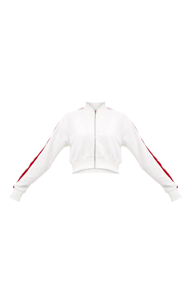 Cream Contrast Stripe Popper Tracksuit Jacket 3