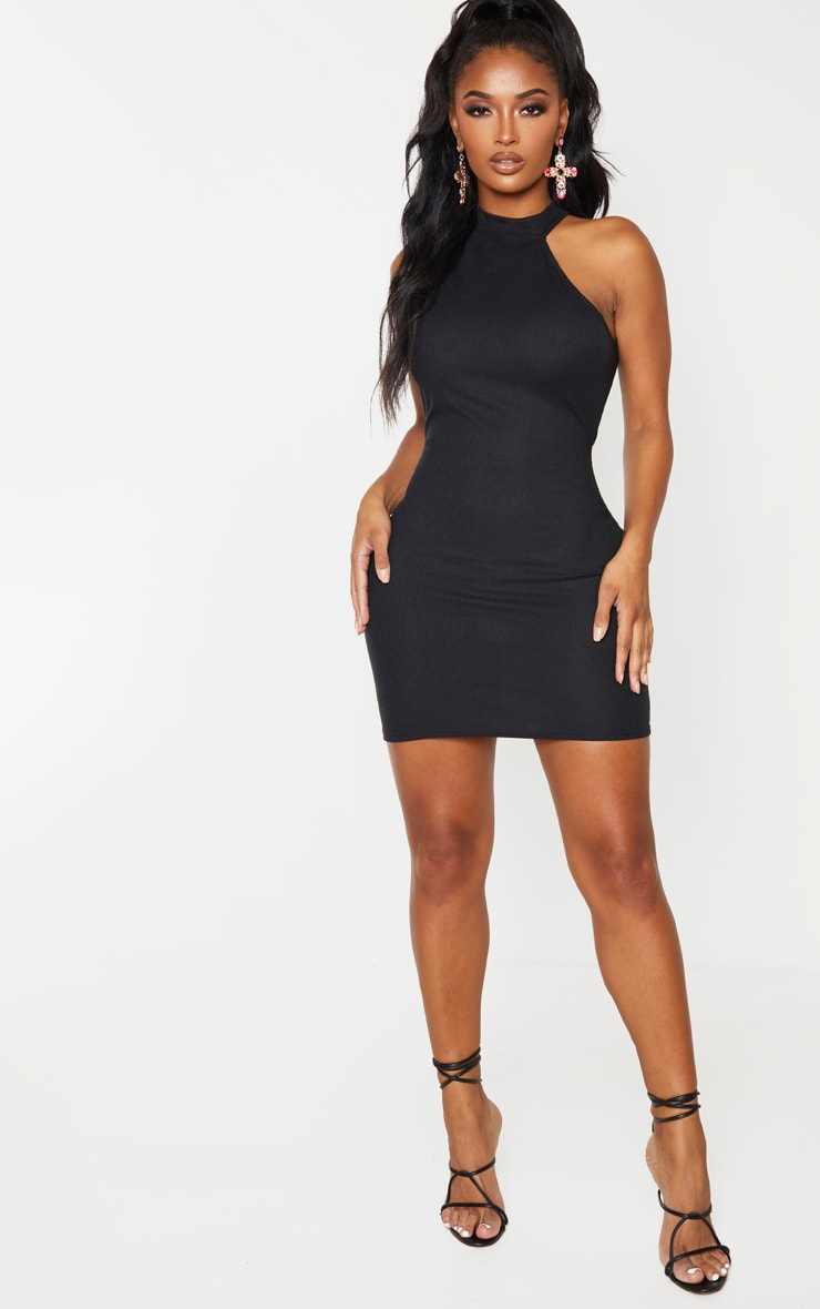 Shape Black Rib High Neck Cut Out Bodycon Dress 4