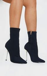 Black Woven Metal Heeled Boots 1
