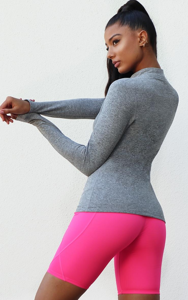 Light Grey Marl Fleece Lined Long Sleeve Gym Top 2