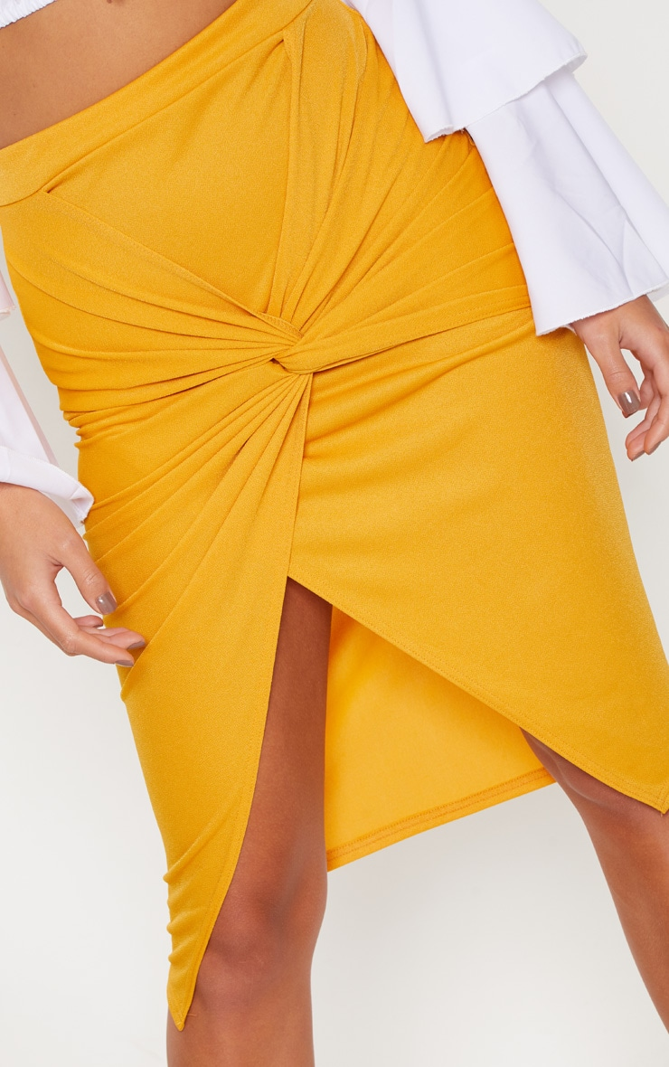 Mustard Twist Front Midi Skirt 5