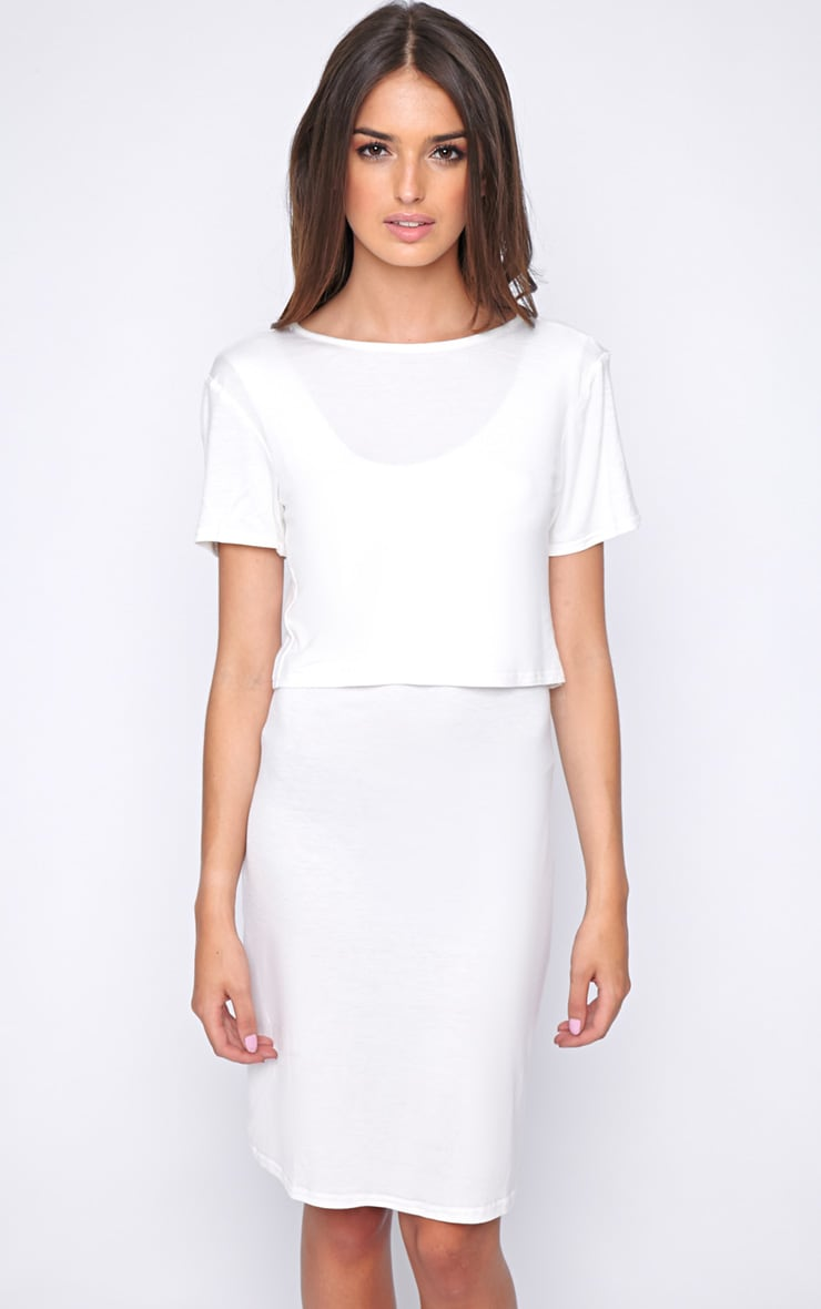 Fran White Layered Tshirt Dress with Open Back  1