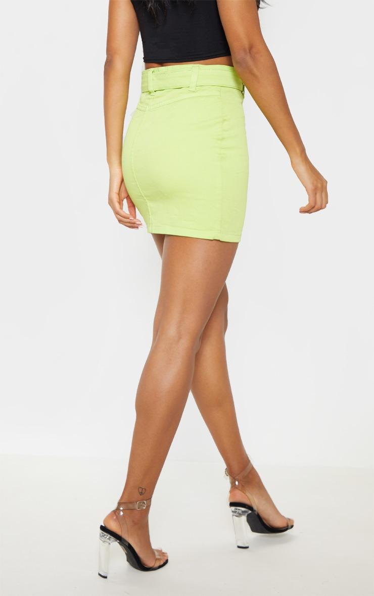 Jupe en jean vert citron à ceinture à anneau 4