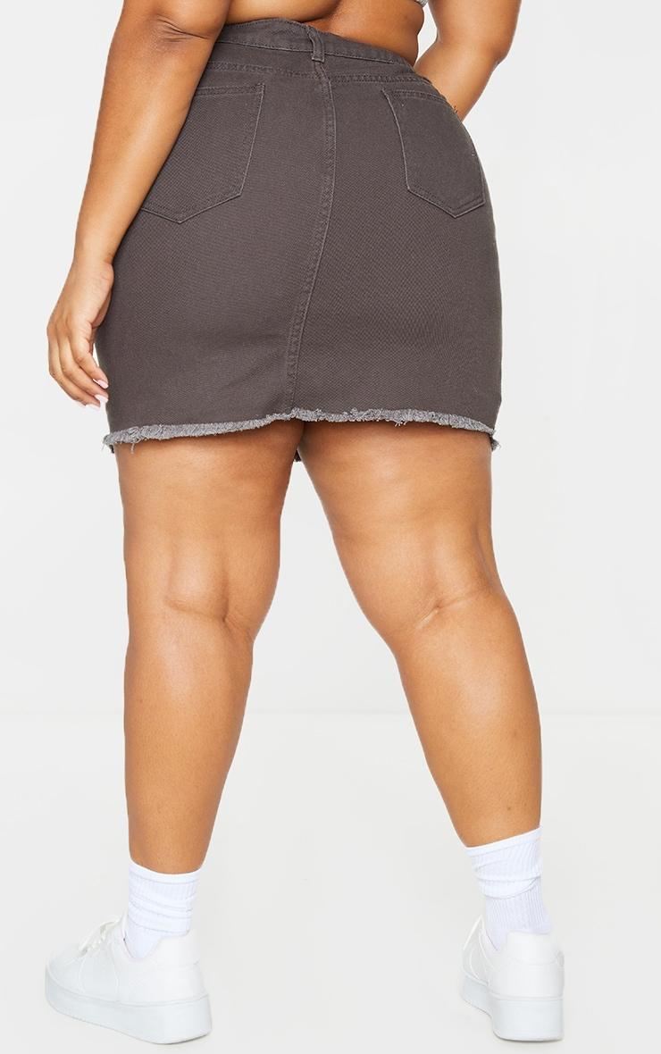 Plus Charcoal One Sided Distressed Hem Denim Skirt 3
