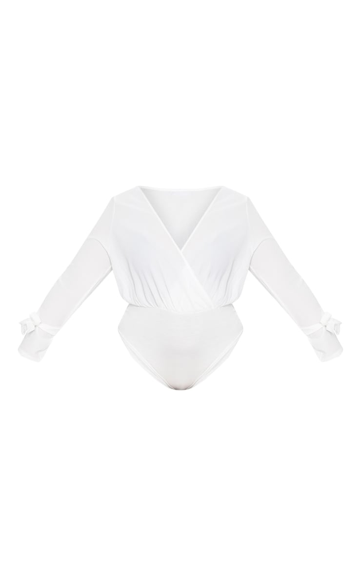 Plus White Chiffon Plunge Long Sleeve Thong Bodysuit 3