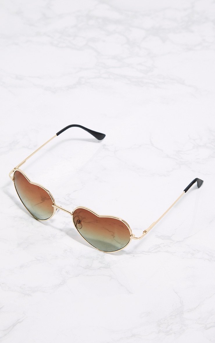 Gold Metal Heart Sunglasses 3