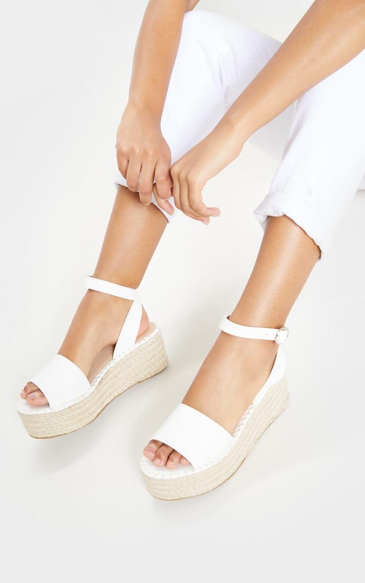 White Snake Embossed Espadrille Flatform Sandal 2