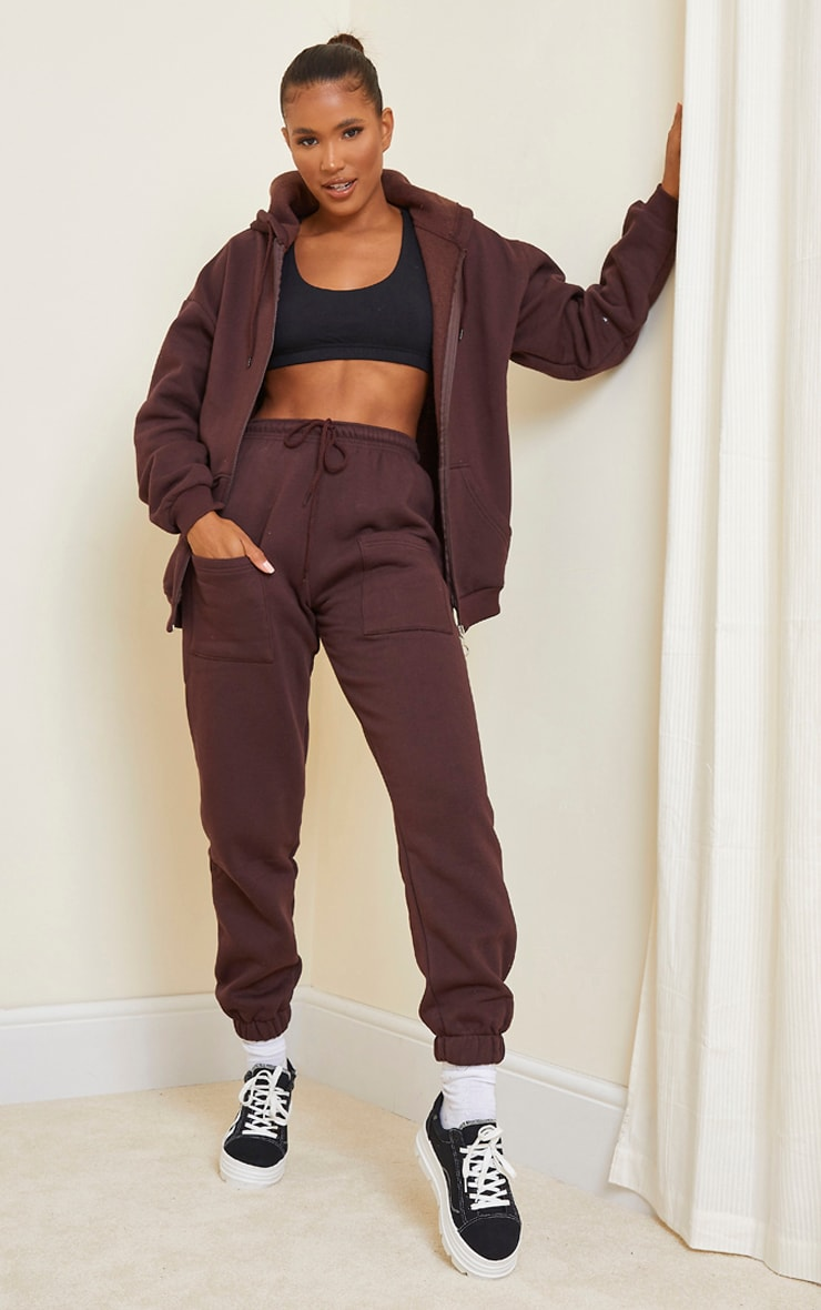 Chocolate Brown Pocket Thigh Casual Joggers 1