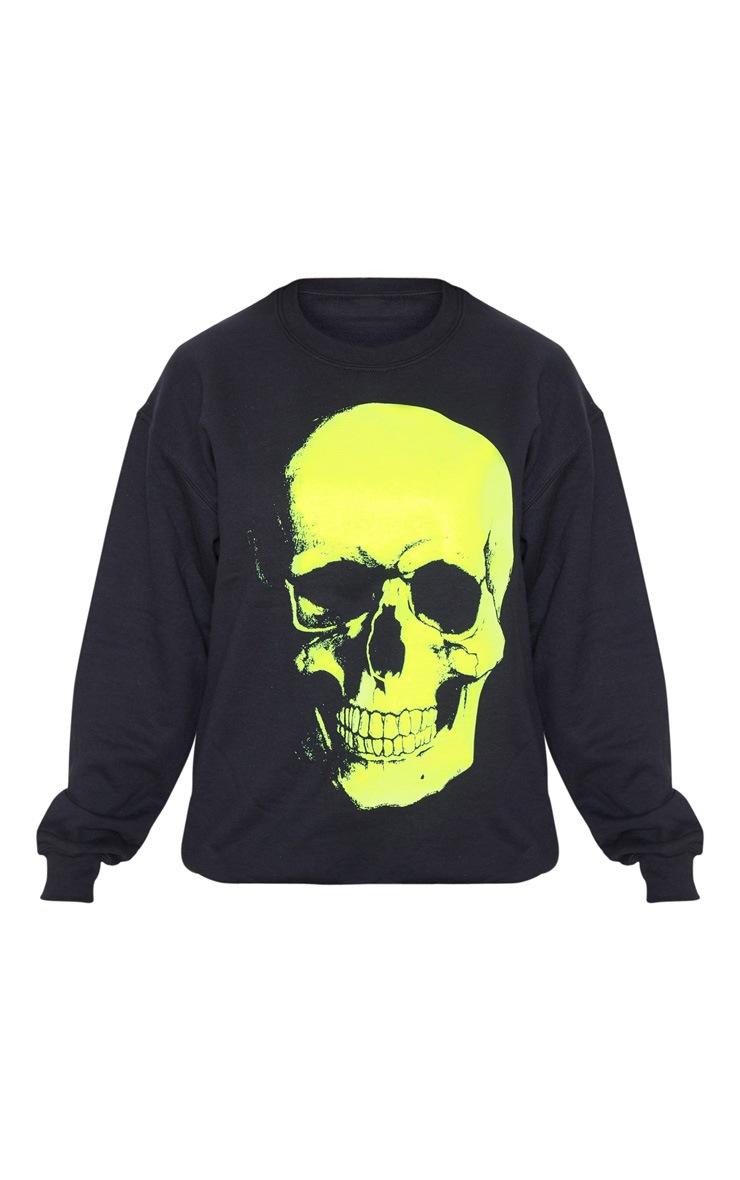 Black Neon Skull Print Oversized Sweater 3
