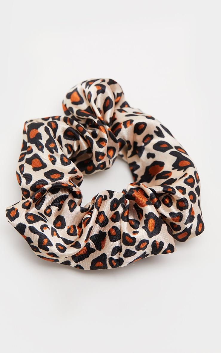 Brown Leopard Velour Scrunchie 1