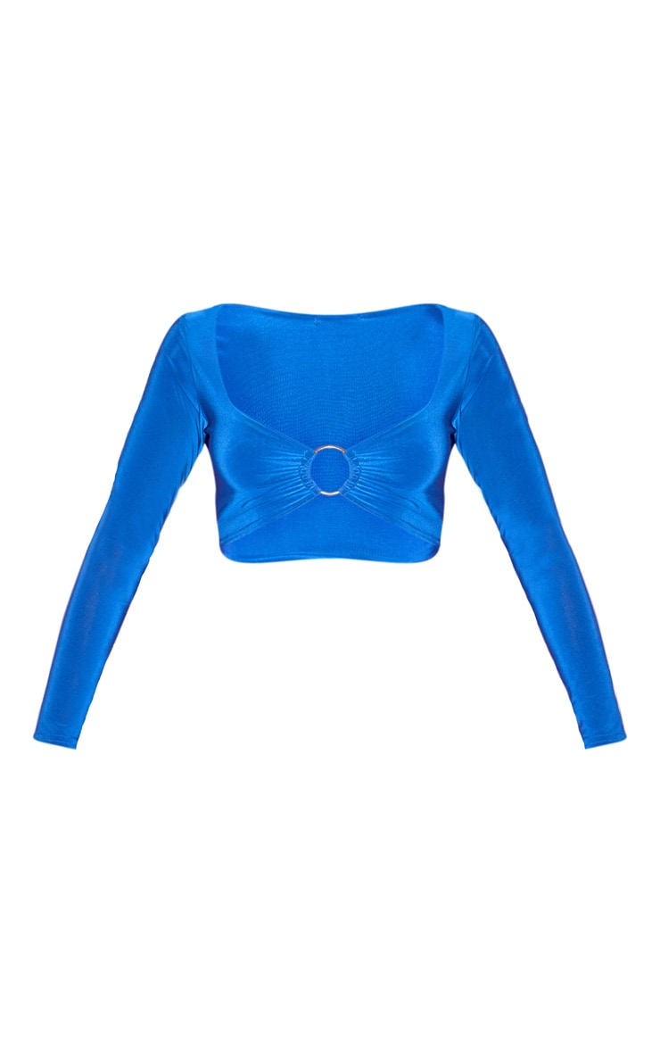 Crop top bleu cobalt slinky à manches longues et détail anneau 3