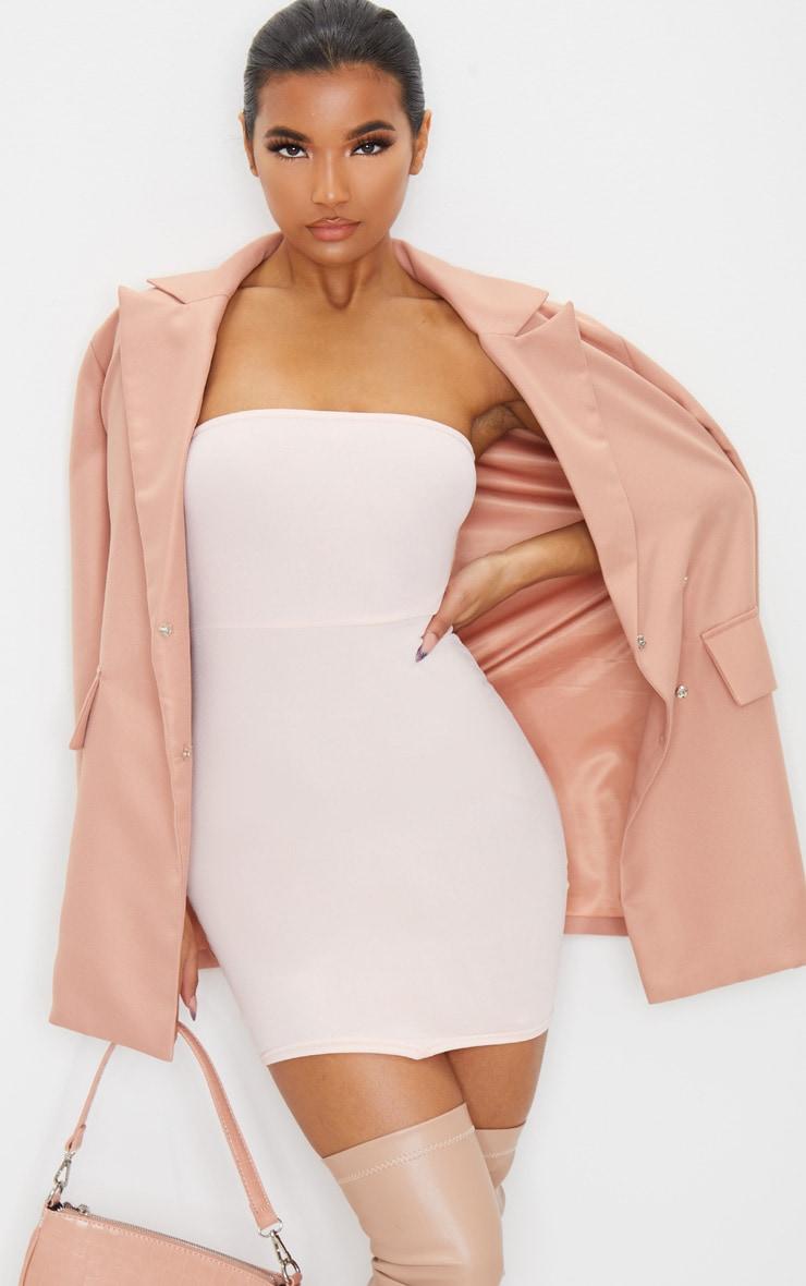 Rose Bandeau Pointy Hem Bodycon Dress 1