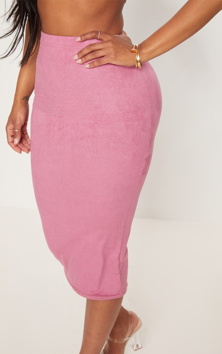 Shape Rose Faux Suede Midi Skirt 5