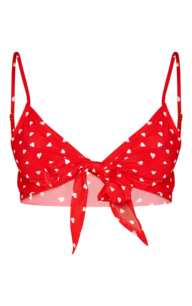 Red Woven Love Heart Print Tie Front Bralet 3