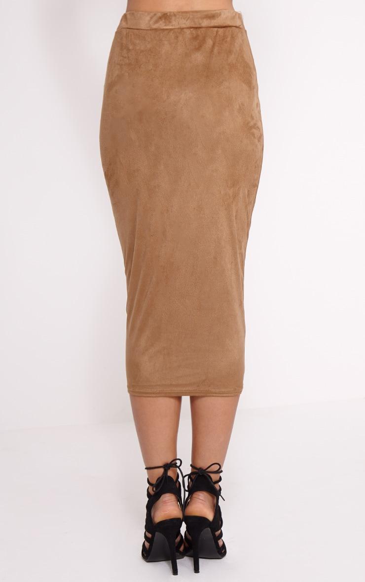 Amanda Camel Suede Midi Skirt 4