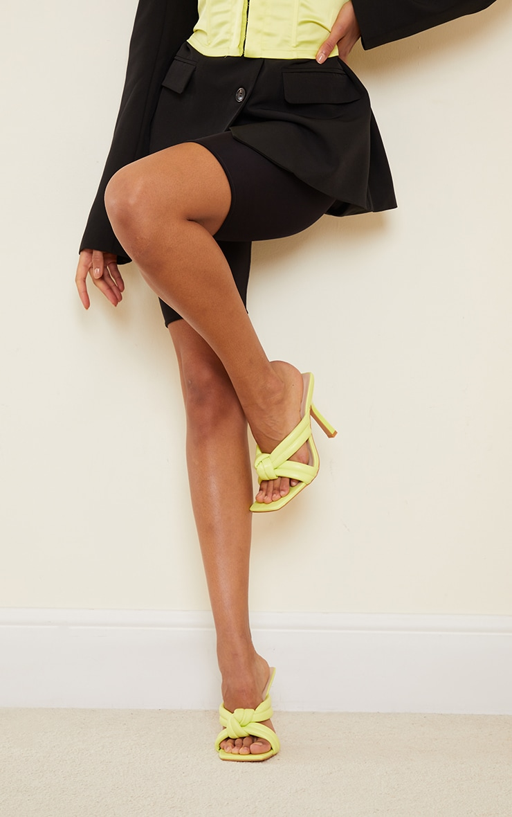Lime Quilted Knotted High Flare Heel Mules 2