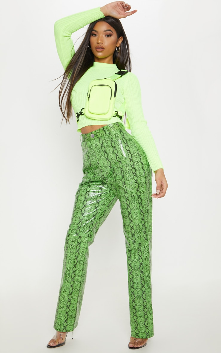 Green Faux Leather Snakeskin Straight Leg Trouser