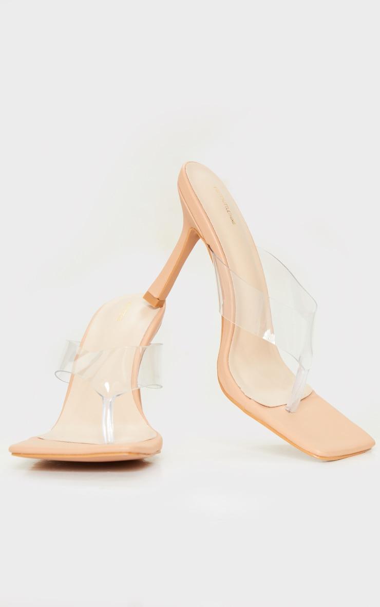 Tan Clear Toe Thong High Heeled Mules 3